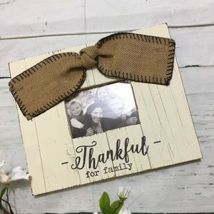 Rustic Photo Picture Frame with Burlap Accent